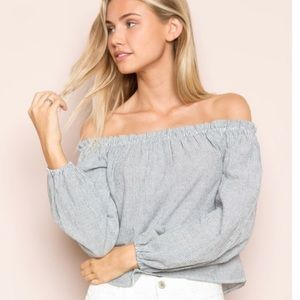 Brandy Melville Striped Off The Shoulder Top O/S